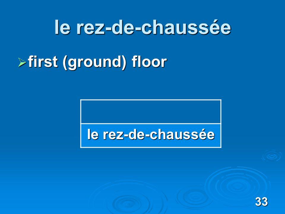 33 le rez-de-chaussée first (ground) floor first (ground) floor le rez-de-chaussée