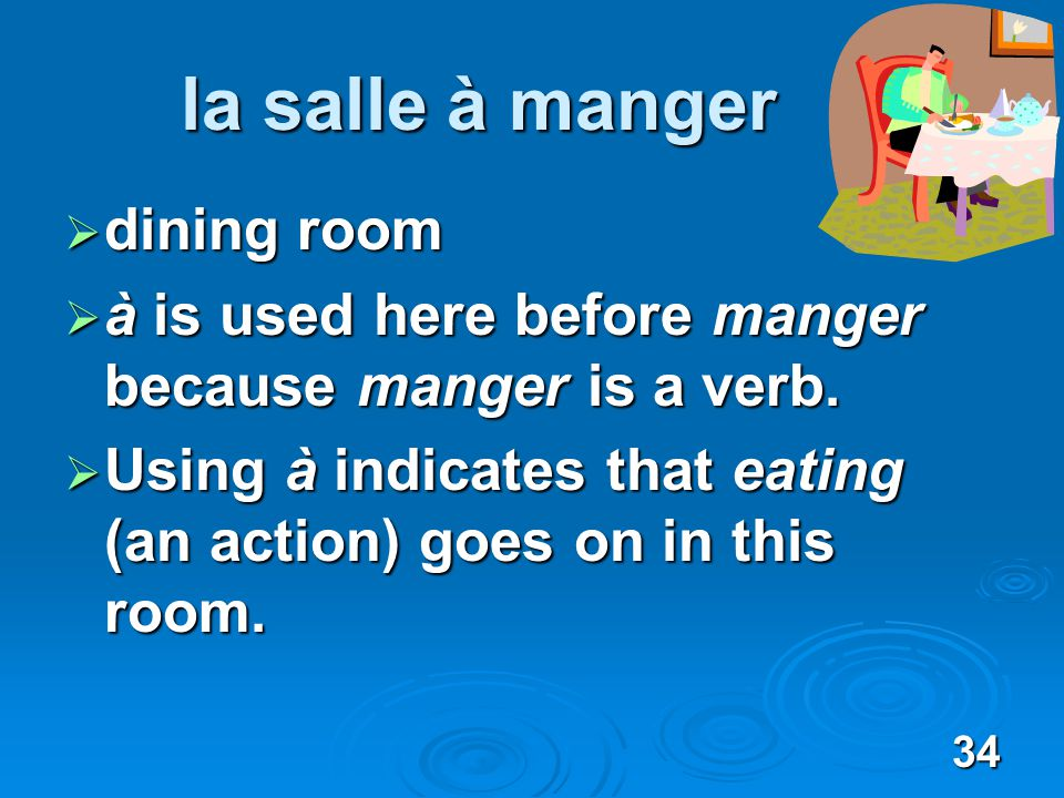 34 la salle à manger dining room dining room à is used here before manger because manger is a verb.