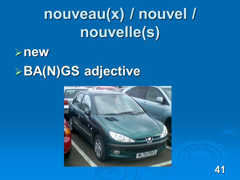 41 nouveau(x) / nouvel / nouvelle(s) new new BA(N)GS adjective BA(N)GS adjective
