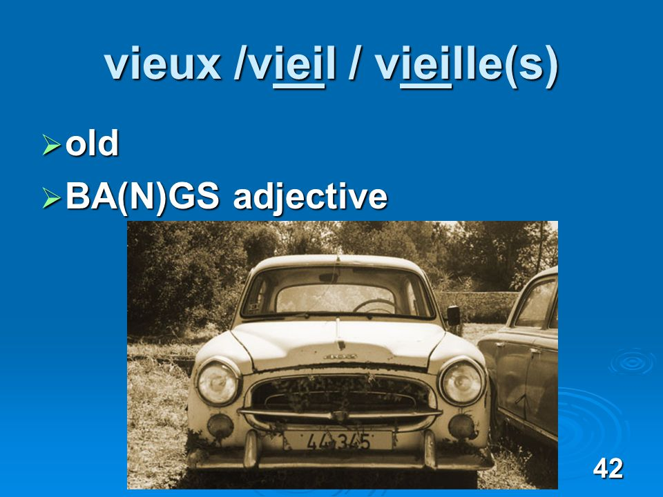 42 vieux /vieil / vieille(s) old old BA(N)GS adjective BA(N)GS adjective