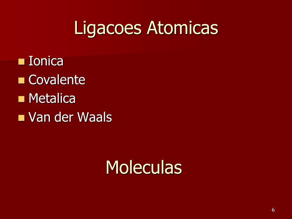 6 Ligacoes Atomicas Ionica Ionica Covalente Covalente Metalica Metalica Van der Waals Van der Waals Moleculas