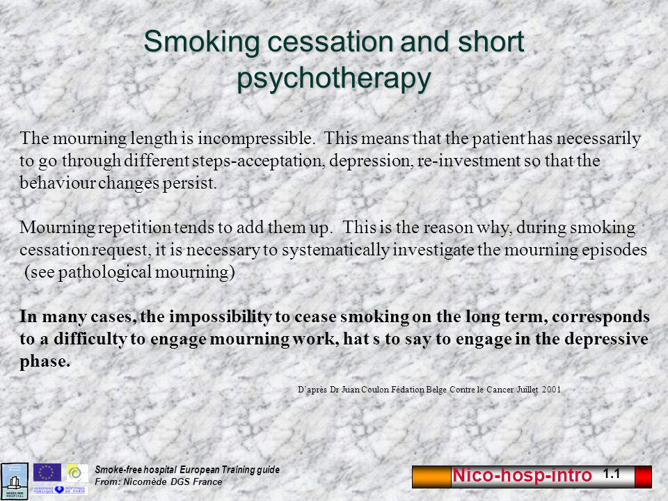 Nico-hosp-intro 1.1 Smoke-free hospital European Training guide From: Nicomède DGS France Smoking cessation and short psychotherapy The mourning length is incompressible.