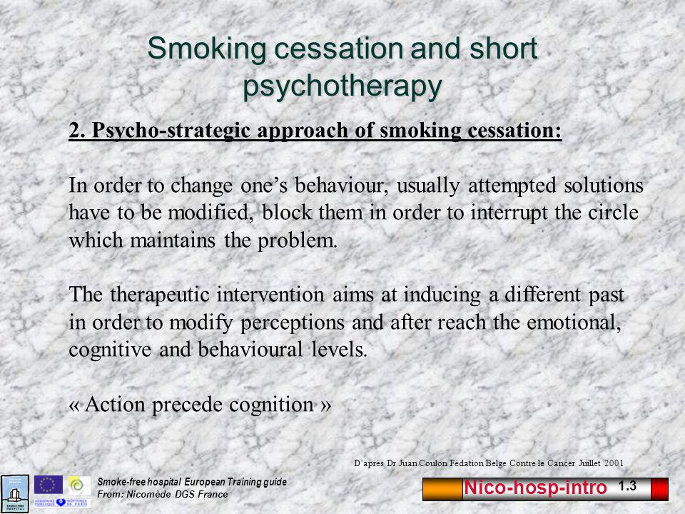 Nico-hosp-intro 1.3 Smoke-free hospital European Training guide From: Nicomède DGS France Smoking cessation and short psychotherapy 2. Psycho-strategi