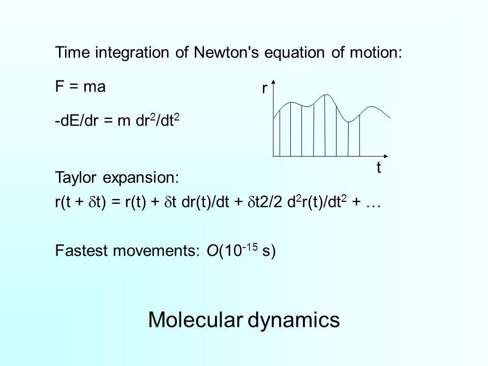 Time integration of Newton's equation of motion: F = ma -dE/dr = m dr 2 /dt 2 Taylor expansion: r(t + t) = r(t) + t dr(t)/dt + t2/2 d 2 r(t)/dt 2 + …