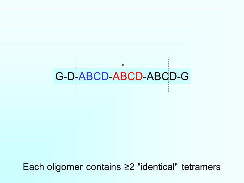 Each oligomer contains 2 identical tetramers G-D-ABCD-ABCD-ABCD-G