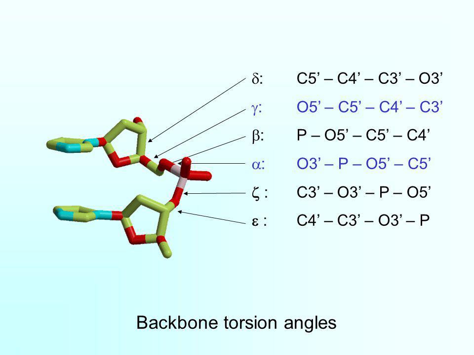 Backbone torsion angles :C5 – C4 – C3 – O3 :O5 – C5 – C4 – C3 :P – O5 – C5 – C4 :O3 – P – O5 – C5 :C3 – O3 – P – O5 :C4 – C3 – O3 – P