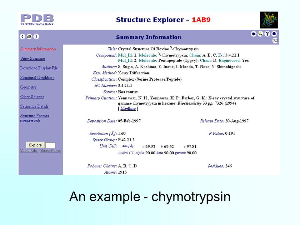 An example - chymotrypsin