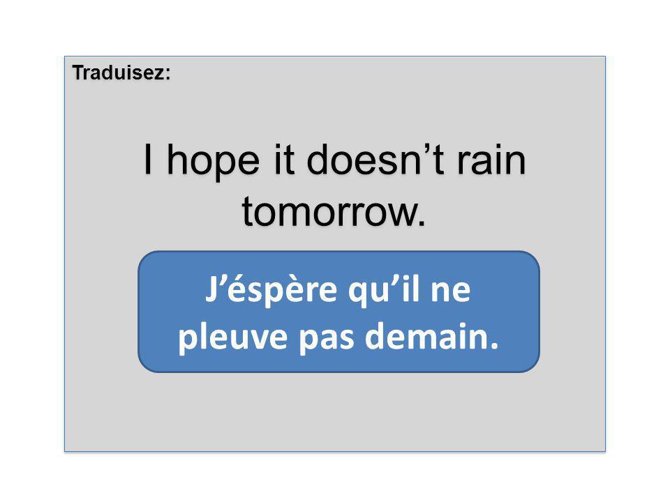 Traduisez: I hope it doesnt rain tomorrow. Traduisez: I hope it doesnt rain tomorrow.