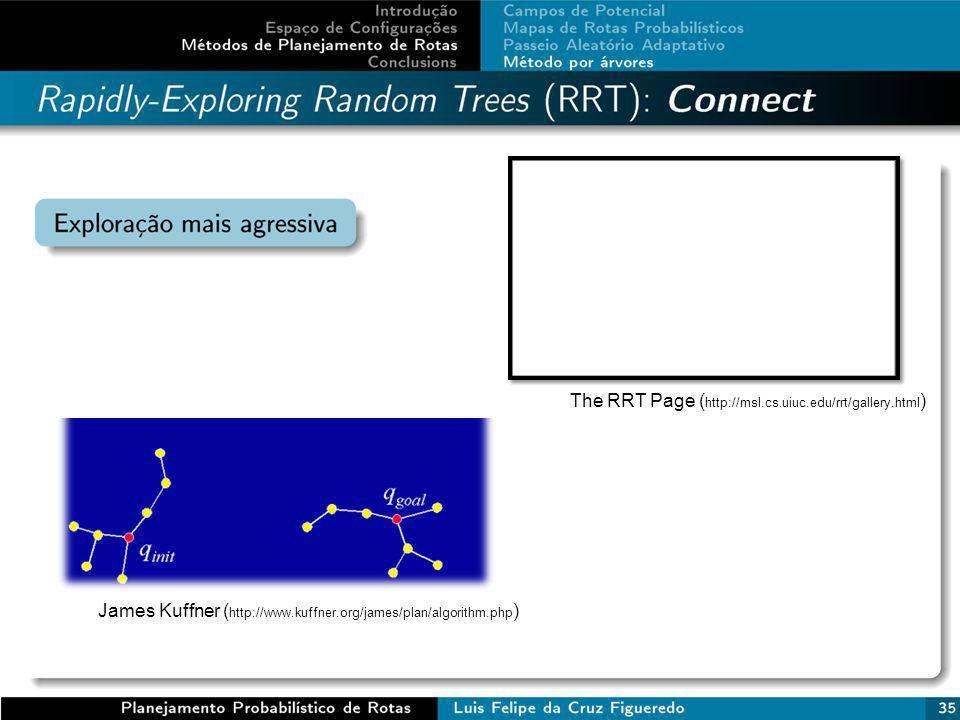The RRT Page ( http://msl.cs.uiuc.edu/rrt/gallery.html ) James Kuffner ( http://www.kuffner.org/james/plan/algorithm.php )