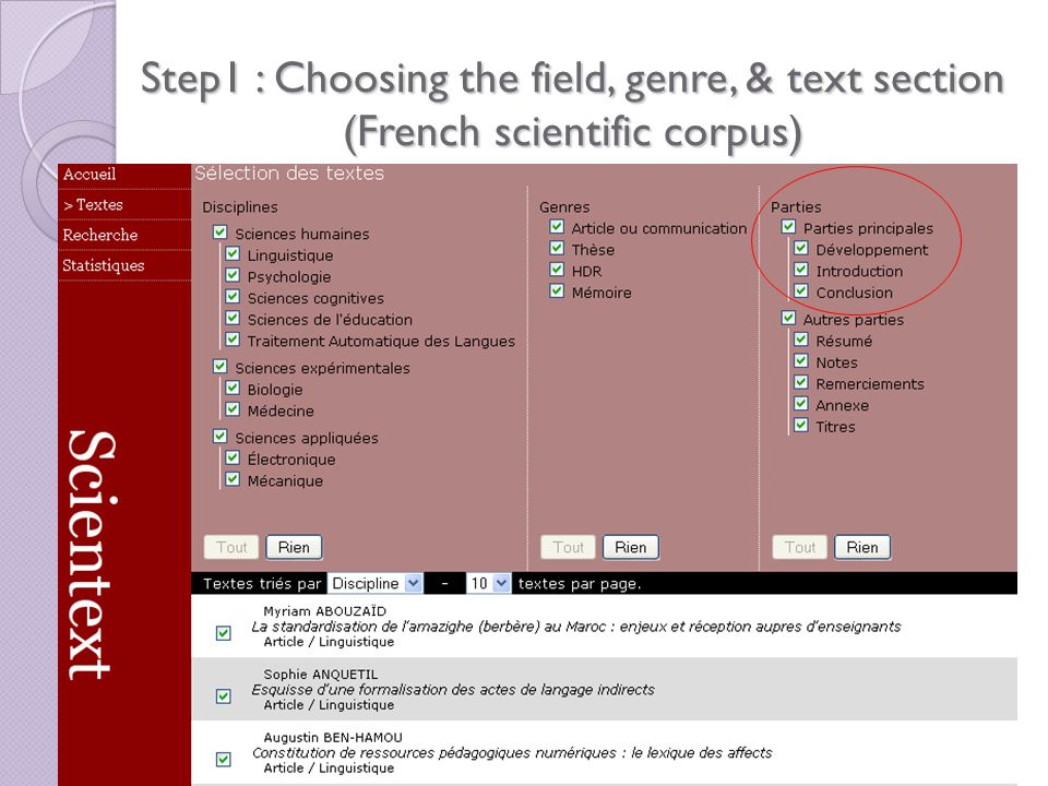 Step1 : Choosing the field, genre, & text section (French scientific corpus)