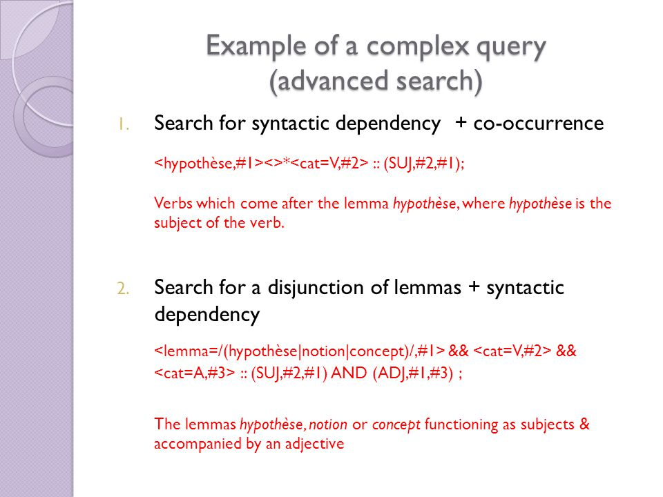 Example of a complex query (advanced search) 1.
