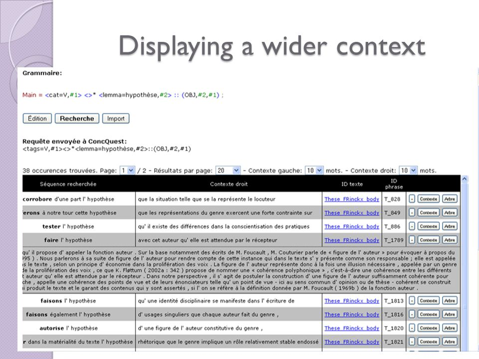 Displaying a wider context Display of a wider context