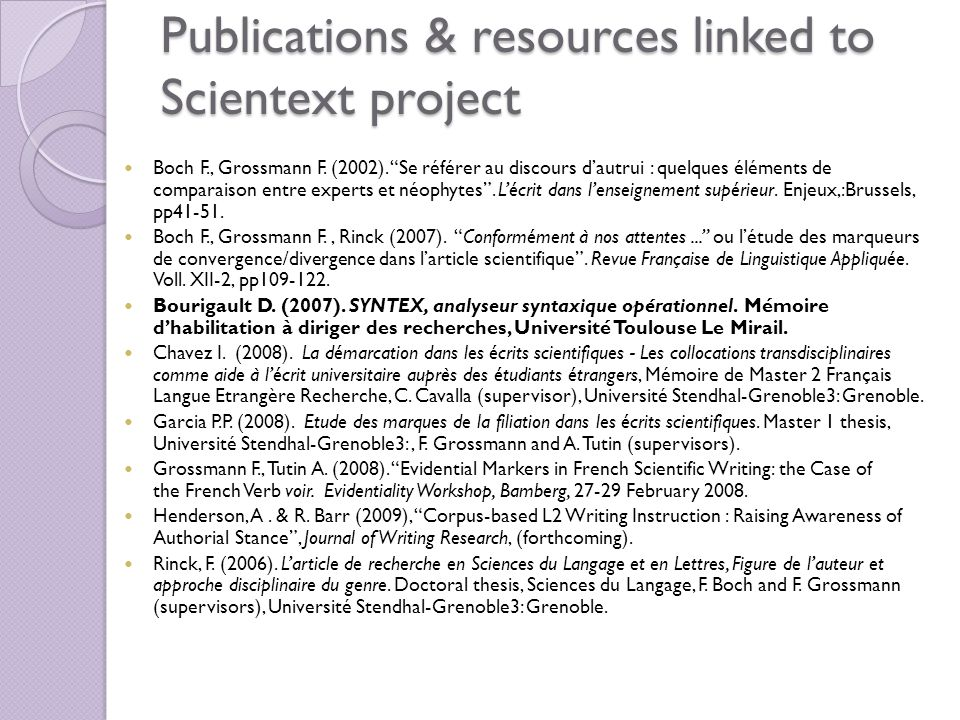 Publications & resources linked to Scientext project Boch F., Grossmann F.