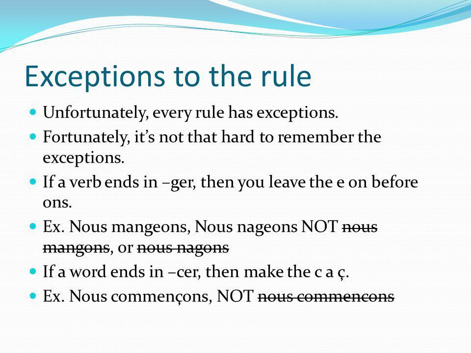 Practice Lets use regarder as an example: Conjugate it. Je Tu Il Nous Vous Ils