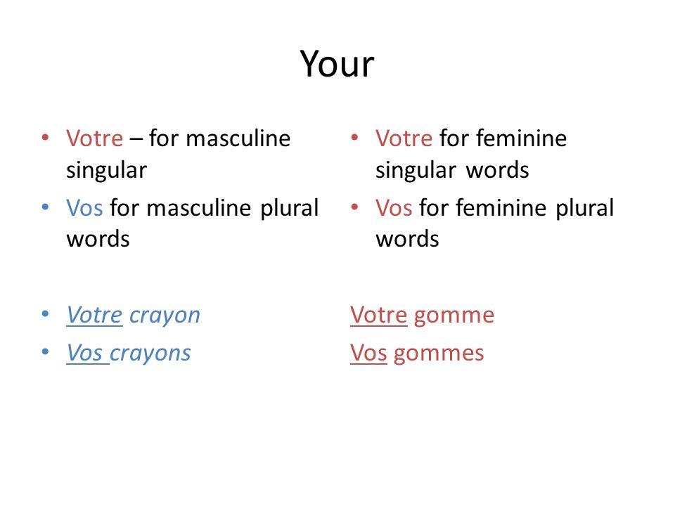 Your Votre – for masculine singular Vos for masculine plural words Votre crayon Vos crayons Votre for feminine singular words Vos for feminine plural