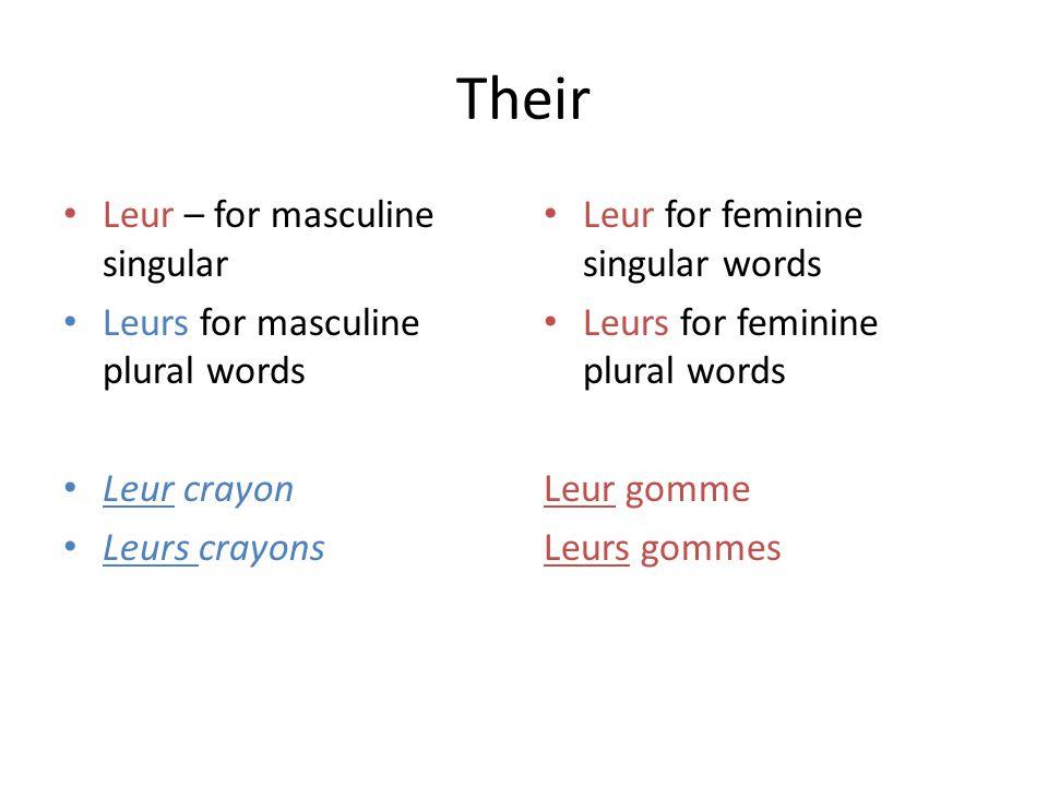Their Leur – for masculine singular Leurs for masculine plural words Leur crayon Leurs crayons Leur for feminine singular words Leurs for feminine plu