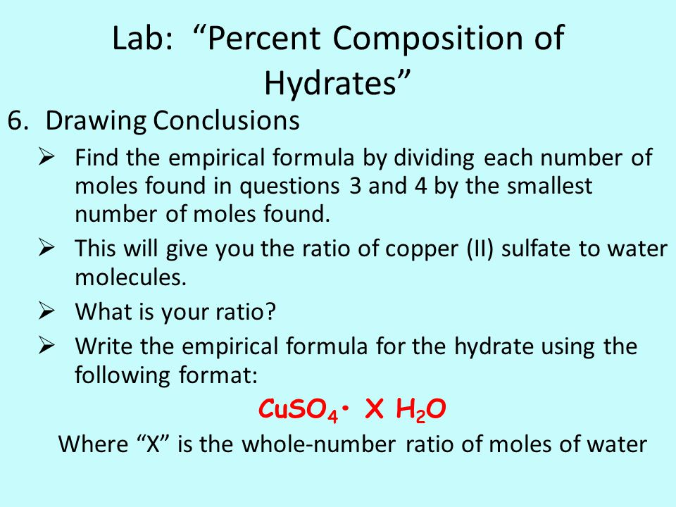 composition of hydrates Hydrate, any compound containing water in the form of h2o molecules, usually, but not always, with a definite content of water by weight the best-known hydrates are crystalline solids that lose their fundamental structures upon removal of the bound water.