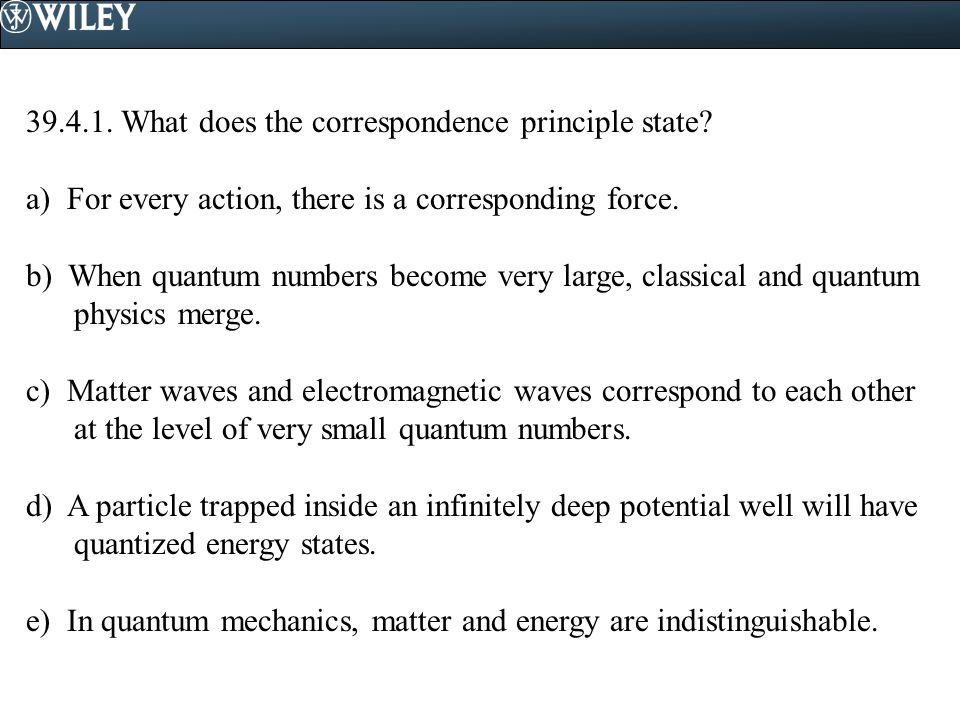 What does the correspondence principle state.