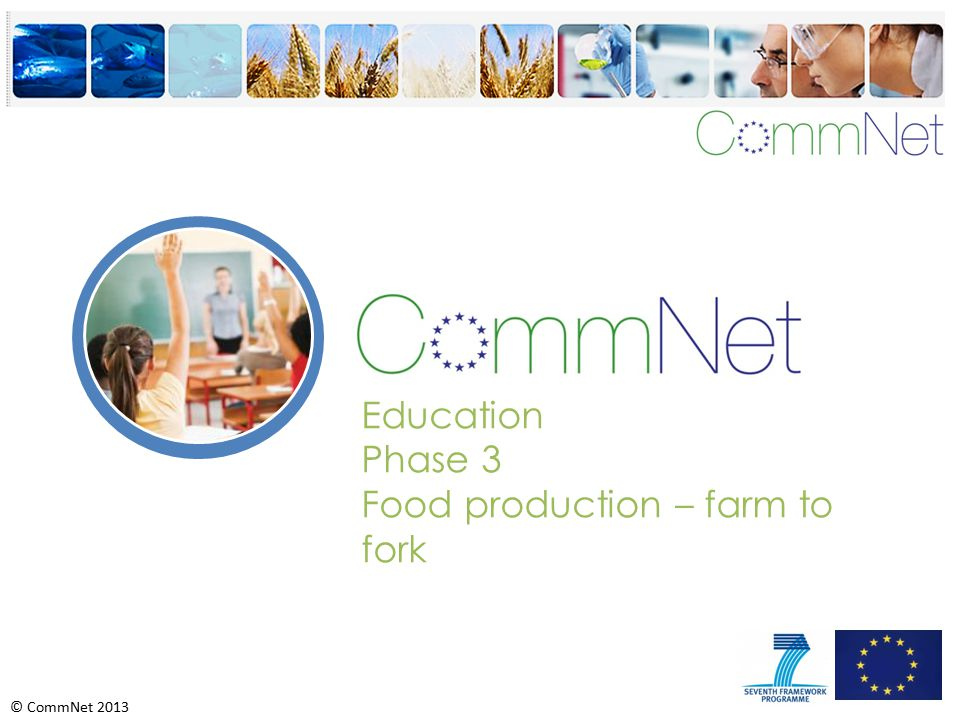 © CommNet 2013 Education Phase 3 Food production – farm to fork