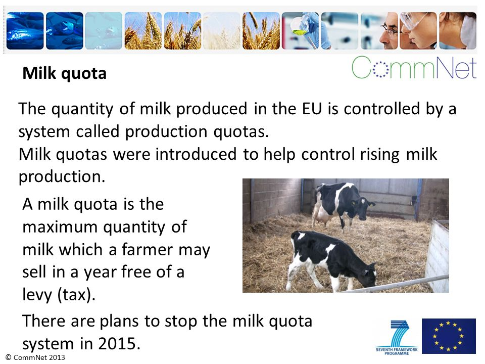 © CommNet 2013 The quantity of milk produced in the EU is controlled by a system called production quotas.