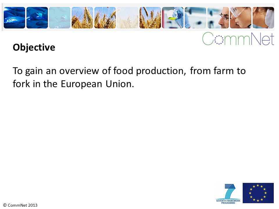 © CommNet 2013 Objective To gain an overview of food production, from farm to fork in the European Union.