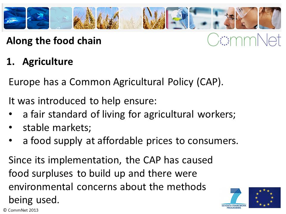 © CommNet 2013 Along the food chain 1.Agriculture Europe has a Common Agricultural Policy (CAP).