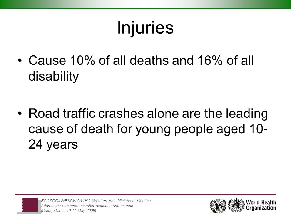 ECOSOC/UNESCWA/WHO Western Asia Ministerial Meeting Addressing noncommunicable diseases and injuries (Doha, Qatar, May 2009) Injuries Cause 10% of all deaths and 16% of all disability Road traffic crashes alone are the leading cause of death for young people aged years