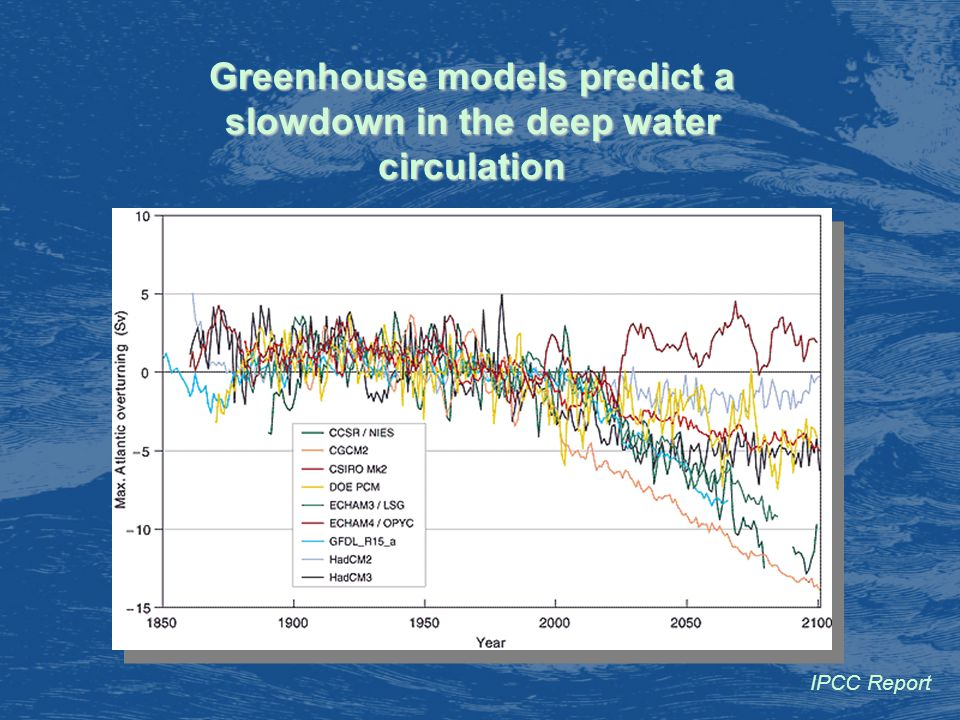 Greenhouse models predict a slowdown in the deep water circulation IPCC Report