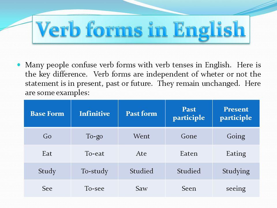 By Estuardo Castillo. Many people confuse verb forms with verb ...