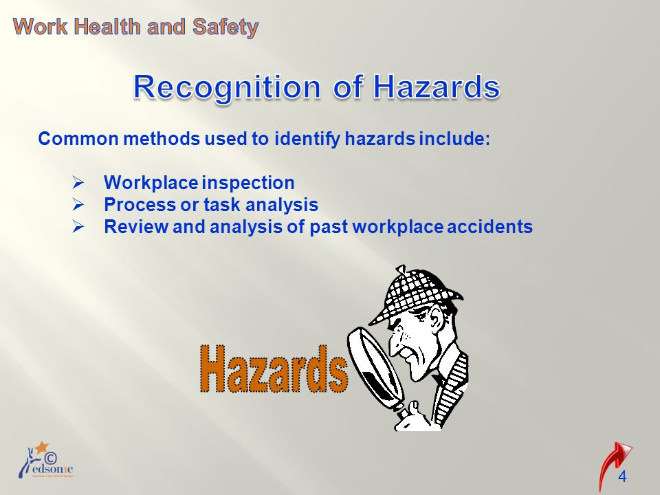 Common methods used to identify hazards include:  Workplace inspection  Process or task analysis  Review and analysis of past workplace accidents 4