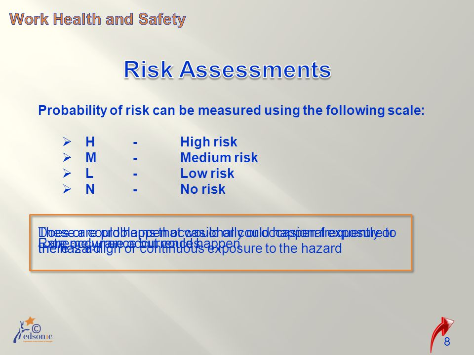 Probability of risk can be measured using the following scale:  H-High risk  M-Medium risk  L-Low risk  N-No risk 8 These are problems that would or could happen frequently or there is a high or continuous exposure to the hazard Does or could happen occasionally or occasional exposure to the hazard Rare occurrence but could happenExtremely rare occurrences