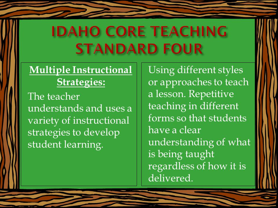 Multiple Instructional Strategies: The teacher understands and uses a variety of instructional strategies to develop student learning.