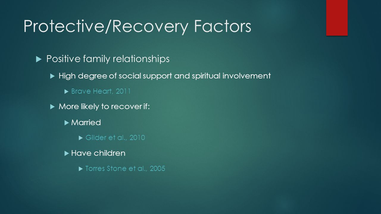 Protective/Recovery Factors  Positive family relationships  High degree of social support and spiritual involvement  Brave Heart, 2011  More likely to recover if:  Married  Gilder et al., 2010  Have children  Torres Stone et al., 2005