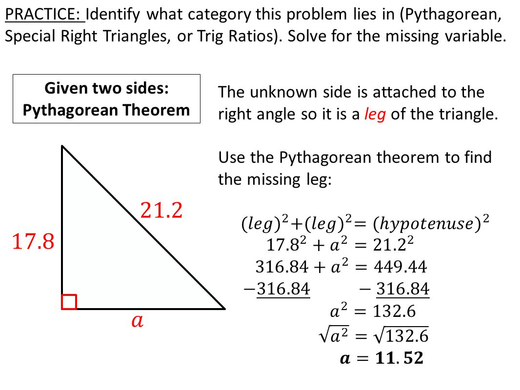 TODAY IN GEOMETRY…  Review: Methods solving for missing sides of a ...