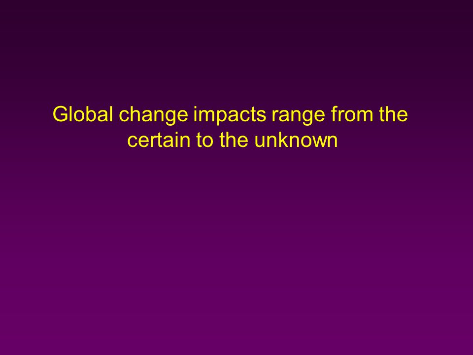 Global change impacts range from the certain to the unknown