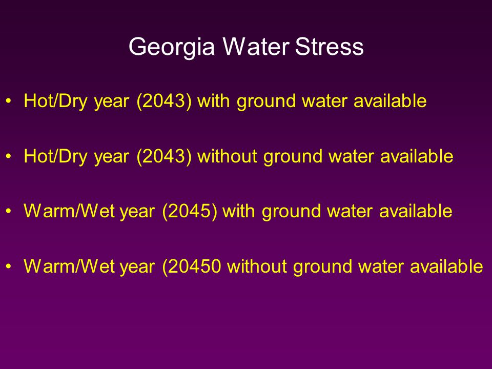 Georgia Water Stress Hot/Dry year (2043) with ground water available Hot/Dry year (2043) without ground water available Warm/Wet year (2045) with ground water available Warm/Wet year (20450 without ground water available