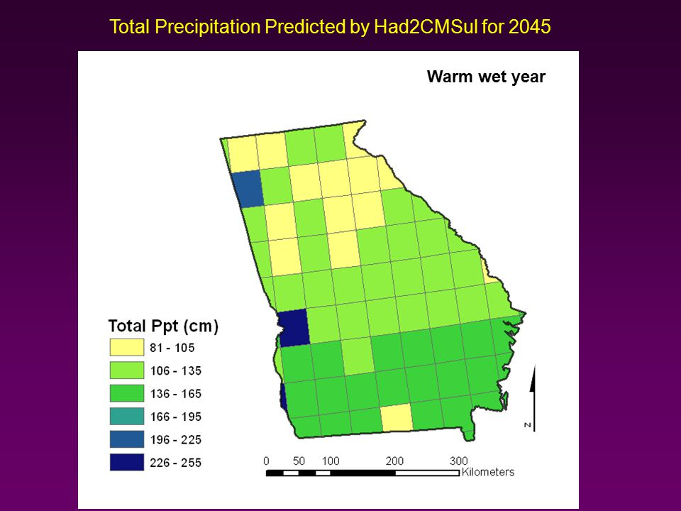 Total Precipitation Predicted by Had2CMSul for 2045 Warm wet year