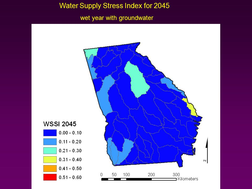 Water Supply Stress Index for 2045 wet year with groundwater