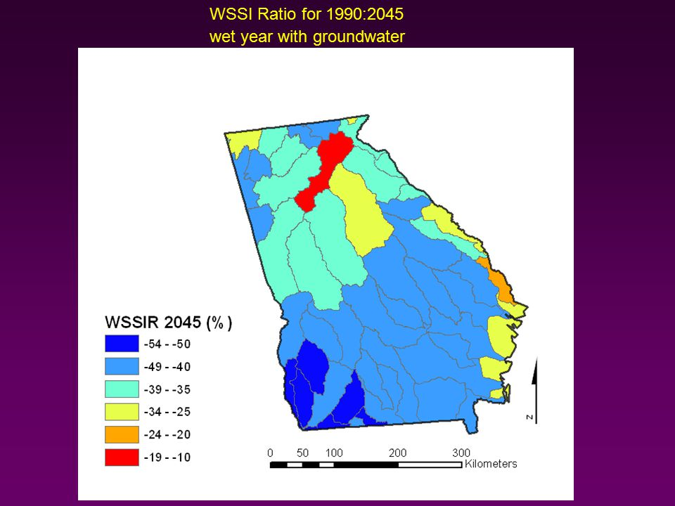 WSSI Ratio for 1990:2045 wet year with groundwater