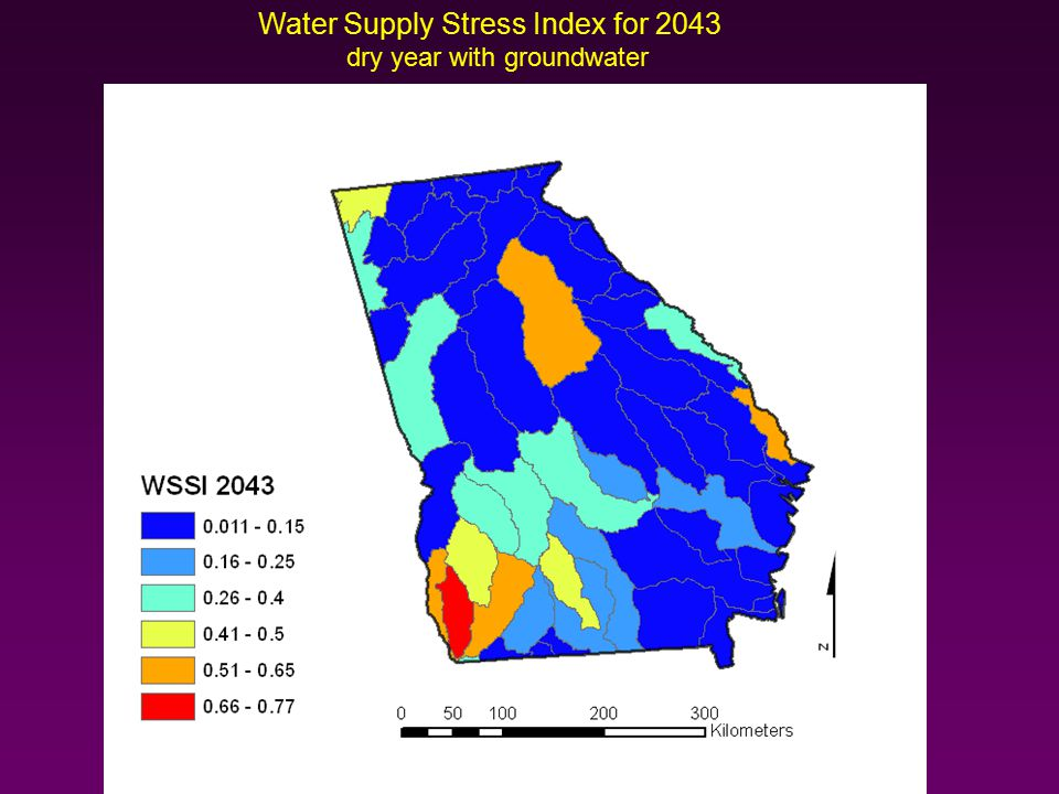 Water Supply Stress Index for 2043 dry year with groundwater