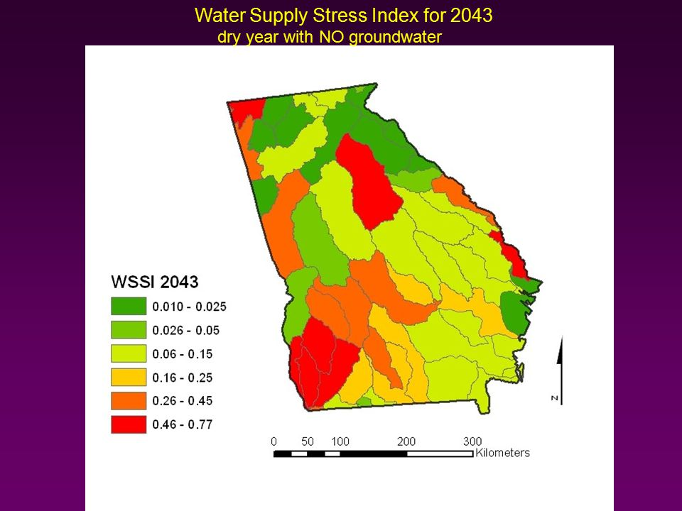 Water Supply Stress Index for 2043 dry year with NO groundwater