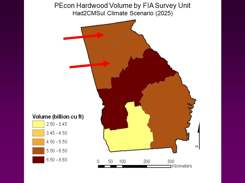 PEcon Hardwood Volume by FIA Survey Unit Had2CMSul Climate Scenario (2025)