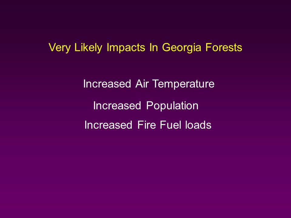 Very Likely Impacts In Georgia Forests Increased Population Increased Fire Fuel loads Increased Air Temperature