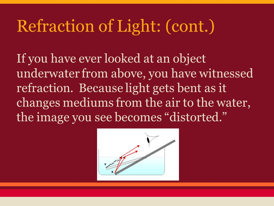 Refraction of Light: (cont.) If you have ever looked at an object underwater from above, you have witnessed refraction.