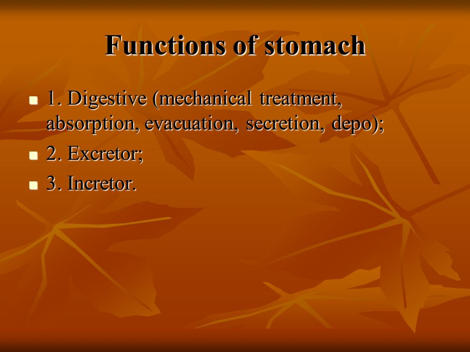 Functions of stomach 1.