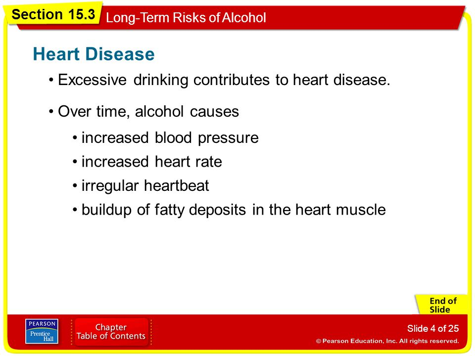 Section 15.3 Long-Term Risks of Alcohol Slide 4 of 25 Excessive drinking contributes to heart disease.