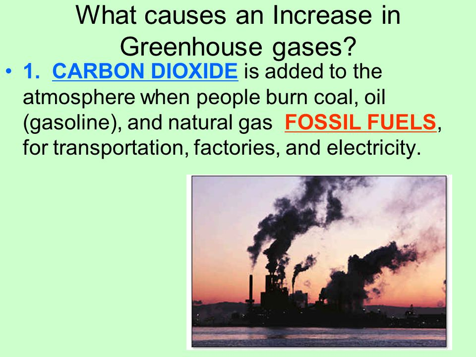 What causes an Increase in Greenhouse gases. 1.