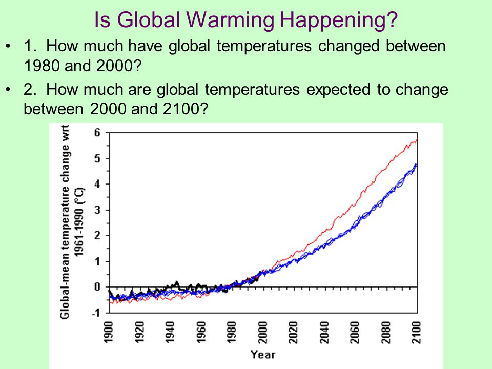 Is Global Warming Happening. 1. How much have global temperatures changed between 1980 and