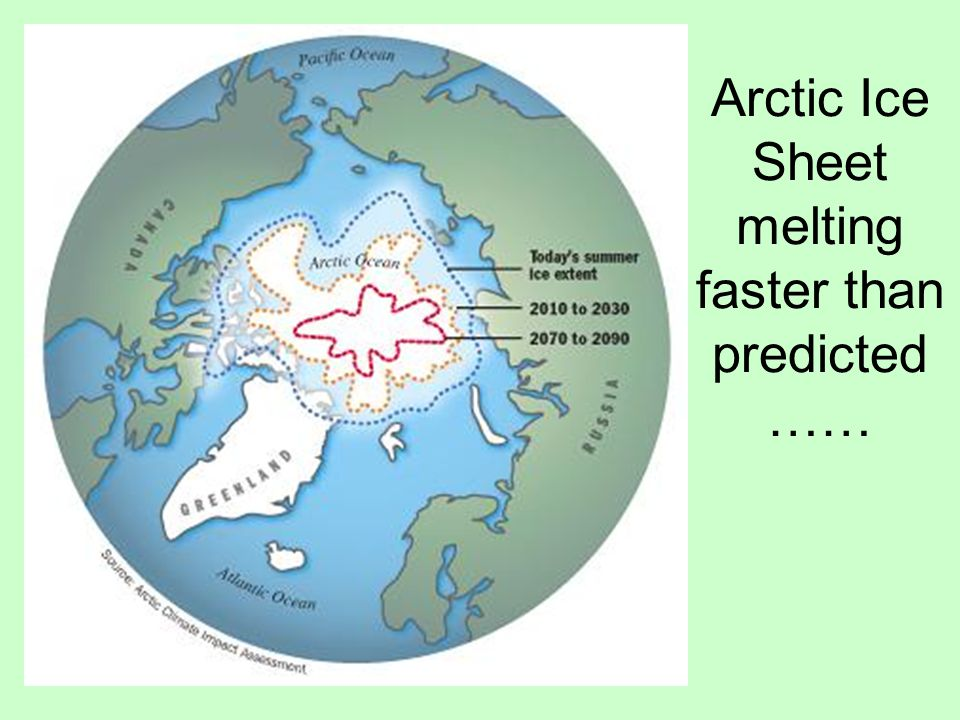 Arctic Ice Sheet melting faster than predicted ……