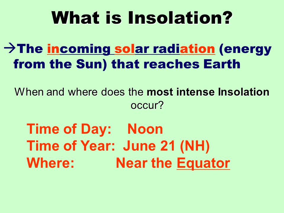 What is Insolation.